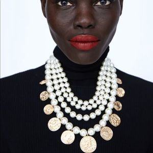 Statement Layered Pearl Coin Necklace